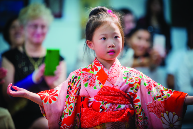 Child in kimono at Reston Multicultural Festival