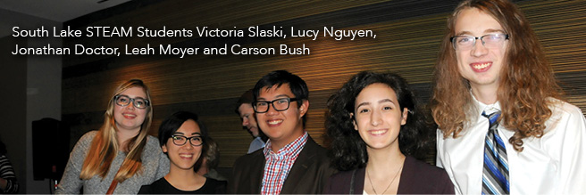 South Lake STEAM Students Victoria Slaski, Lucy Nguyen, Jonathan Doctor, Leah Moyer and Carson Bush