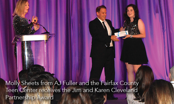 Molly Sheets from AJ Fuller and the Fairfax County Teen Center receives the Jim and Karen Cleveland Partnership Award