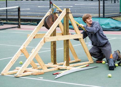 Ian Larson demonstrates trebuchet
