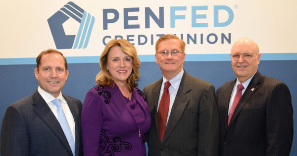 PenFed Credit Union President/CEO James Schenck, former US Air Force Secretary Deborah Lee James, Frank Beatty, Secretary James' spouse; PenFed Credit Union Chairman Ed Cody