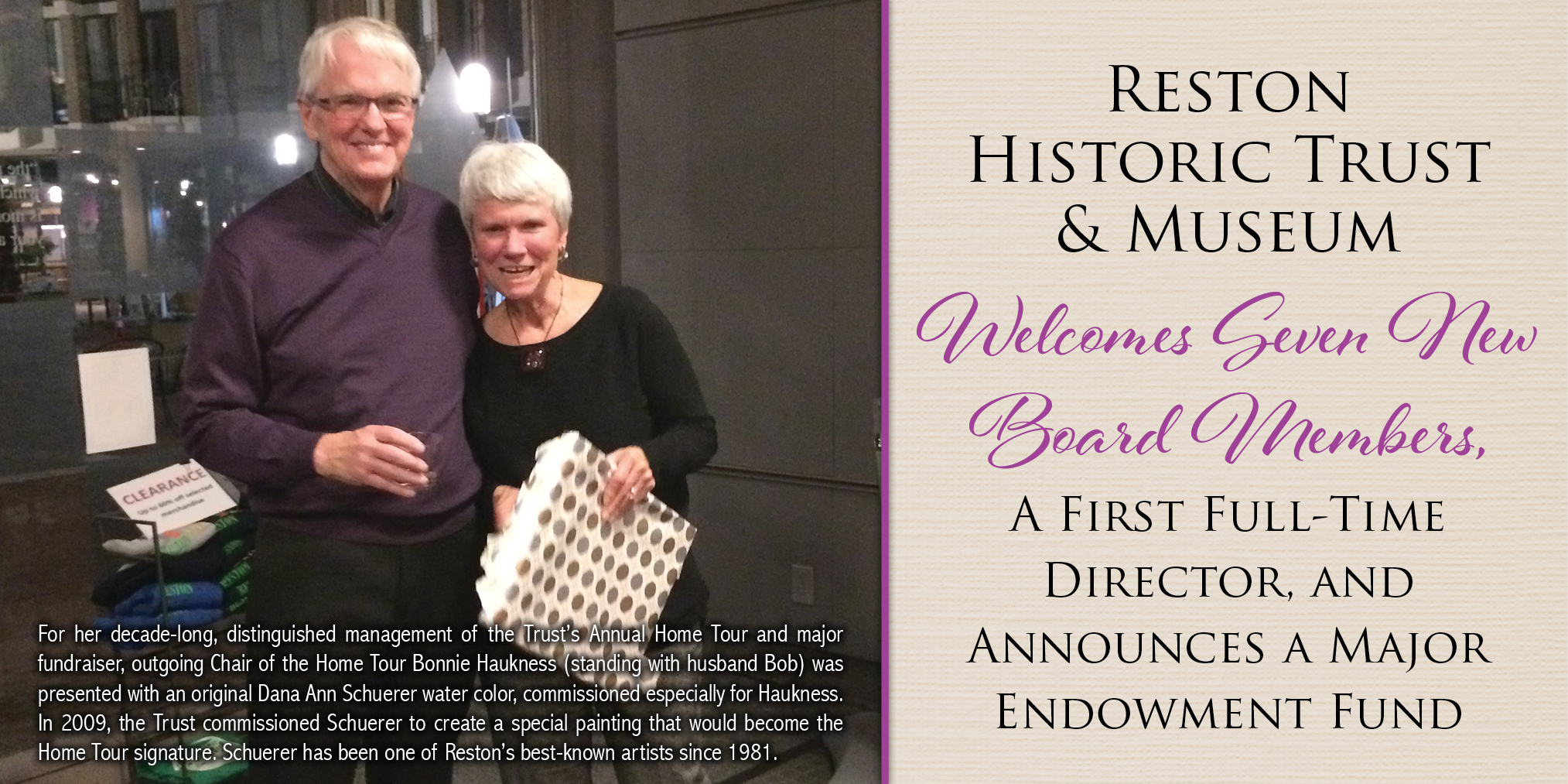 Reston Historic Trust & Museum Welcomes Seven New Board Members, A First Full-Time Director, and Announces a Major Endowment Fund - Chair of the Home Tour Bonnie Haukness (standing with husband Bob