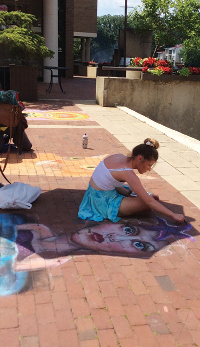 artist working at Chalk Festival