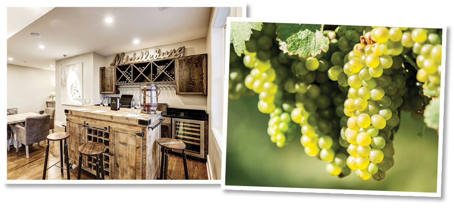 tasting room and grapes